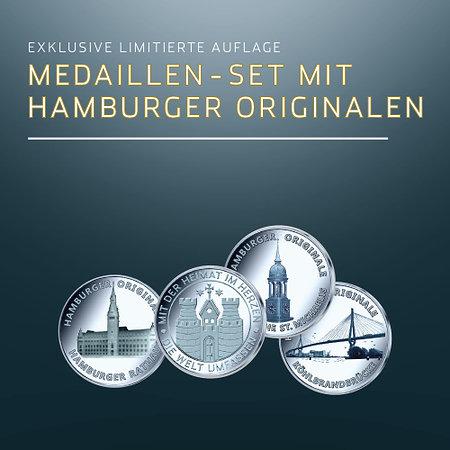 Hamburger Originale 3er-Medaillenset FEINSILBER AG 999
