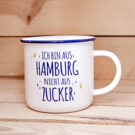 Henkelbecher in Emaille- Design NICHT AUS ZUCKER